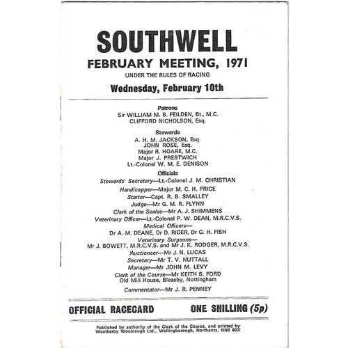 1971 Southwell February Meeting (10/02/1971) Horse Racing Racecard