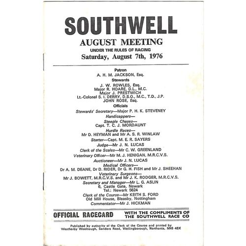 1976 Southwell August Meeting (07/08/1976) Horse Racing Racecard
