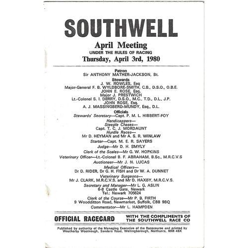1980 Southwell April Meeting (03/04/1980) Horse Racing Racecard