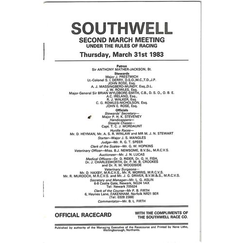 Southwell Horse Racing Racecards/Programmes