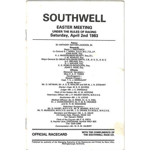 1983 Southwell Easter Meeting (02/04/1983) Horse Racing Racecard