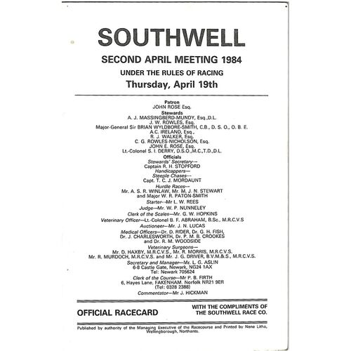 1984 Southwell April Meeting (19/04/1984) Horse Racing Racecard