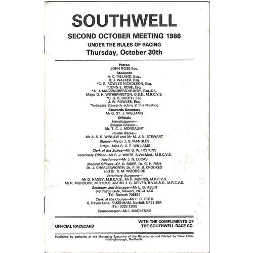 1986 Southwell Second October Meeting (30/10/1986) Horse Racing Racecard
