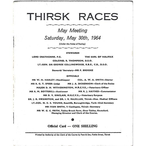 Thirsk Horse Racing Racecards/Programmes