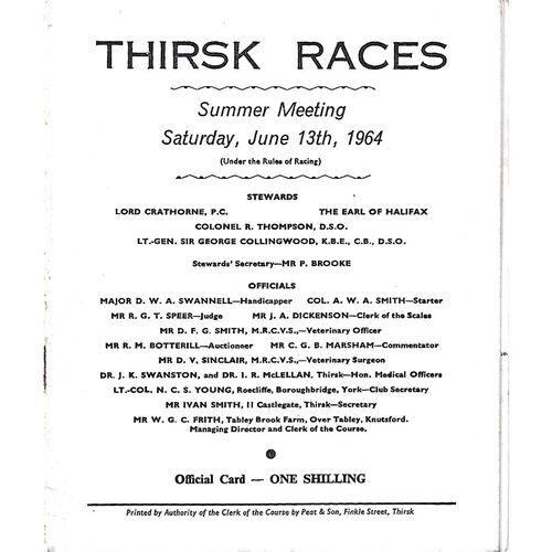 1964 Thirsk Summer Meeting (13/06/1964) Horse Racing Racecard