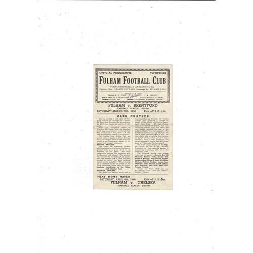 1945/46 Fulham v Brentford Football Programme