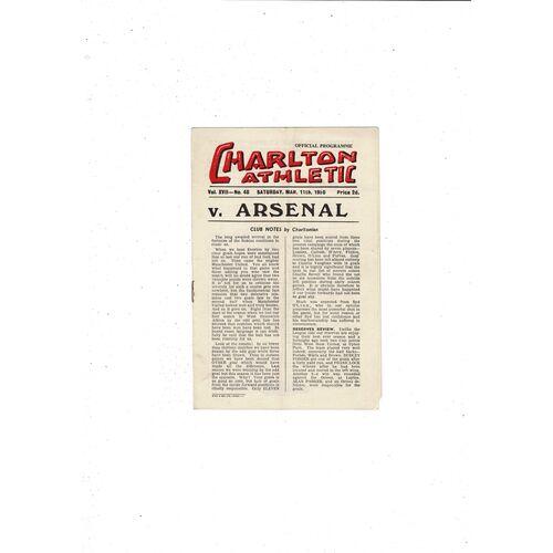 1949/50 Charlton Athletic v Arsenal Football Programme
