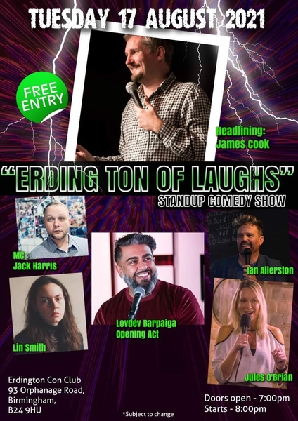 Monthly Comedy Night - Tuesday 17th August 2021 Free Entry