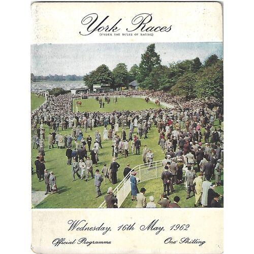 1962 York Race Meeting (16/05/1962) Horse Racing Racecard