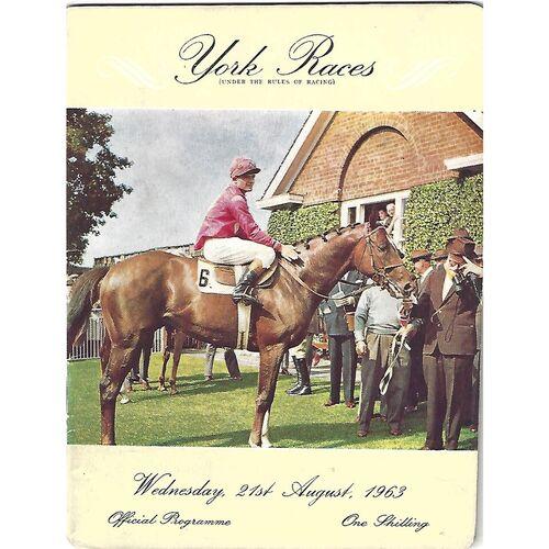 1963 York Race Meeting (21/08/1963) Horse Racing Racecard