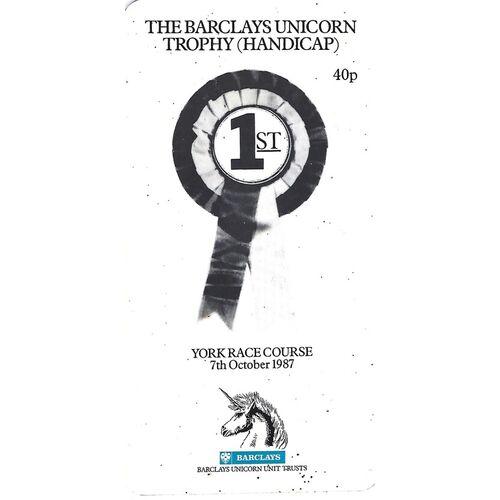 1987 York The Barclays Unicorn Trophy (Handicap) Race Meeting (07/10/1987) Horse Racing Racecard