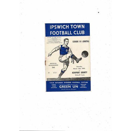 1953/54 Ipswich Town v Newport County Football Programme