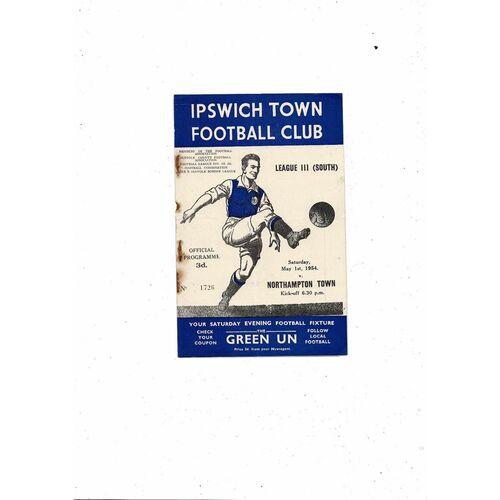 1953/54 Ipswich Town v Northampton Town Football Programme
