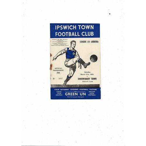 1953/54 Ipswich Town v Shrewsbury Town Football Programme
