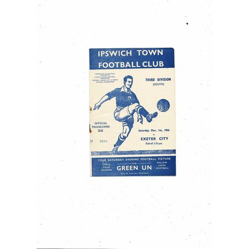 1956/57 Ipswich Town v Exeter City Football Programme