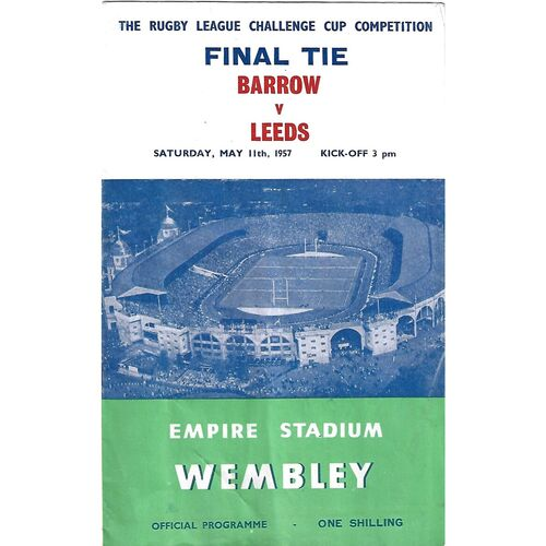 1957 Barrow v Leeds Rugby League Challenge Cup Final Programme