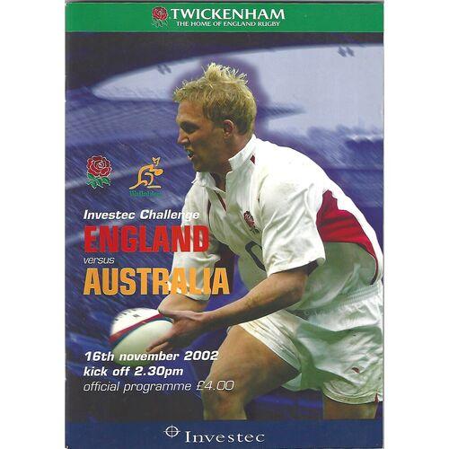 2002 England v Australia International Rugby Union Programme