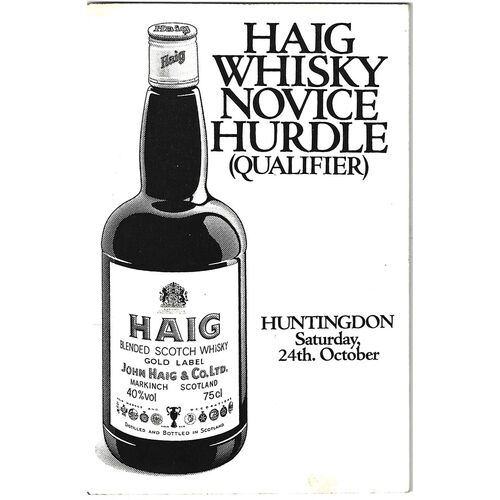 1981 Huntingdon October Race Meeting (24/10/1981) Horse Racing Racecard