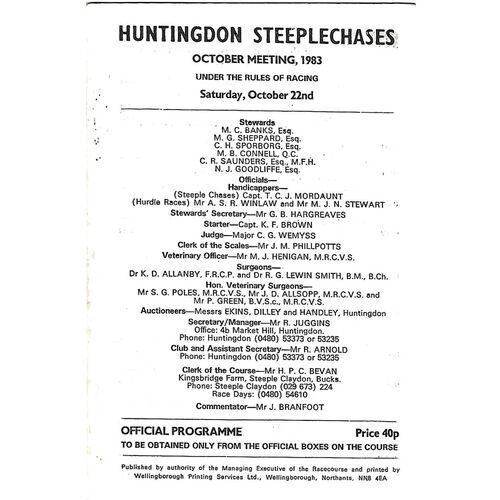 1983 Huntingdon October Race Meeting (22/10/1983) Horse Racing Racecard