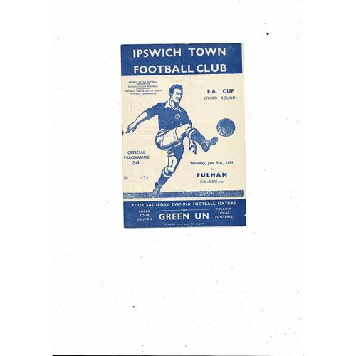 1956/57 Ipswich Town v Fulham FA Cup Football Programme