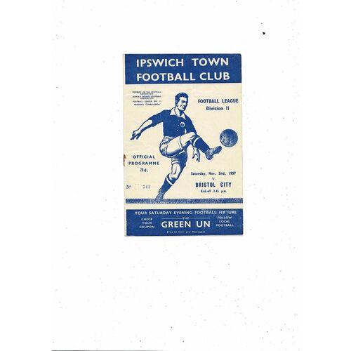 1957/58 Ipswich Town v Bristol City Football Programme