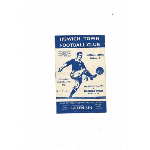 1957/58 Ipswich Town v Blackburn Rovers Football Programme