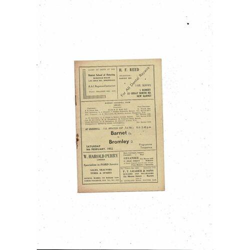 1951/52 Barnet v Bromley Amateur Cup Football Programme