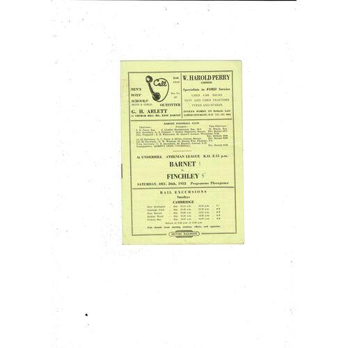 1953/54 Barnet v Finchley Football Programme
