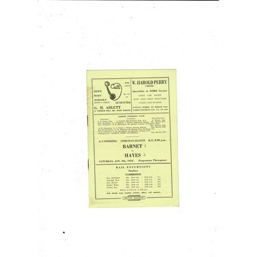 1953/54 Barnet v Hayes Football Programme