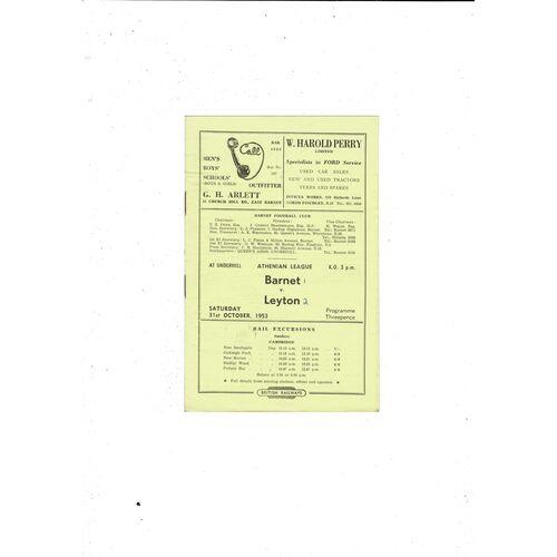 1953/54 Barnet v Leyton Football Programme
