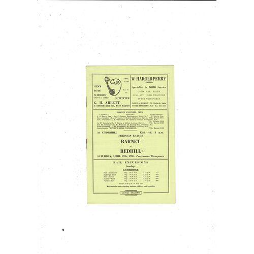 1953/54 Barnet v Redhill Football Programme