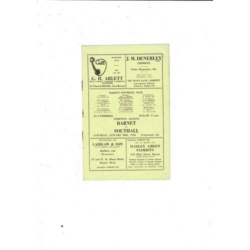 1955/56 Barnet v Southall Football Programme