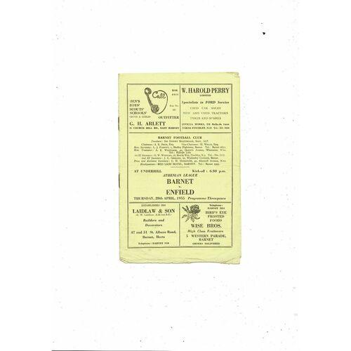 1954/55 Barnet v Enfield Football Programme