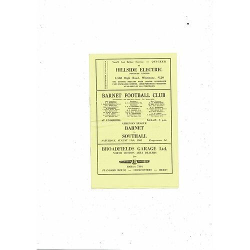 1961/62 Barnet v Southall Football Programme