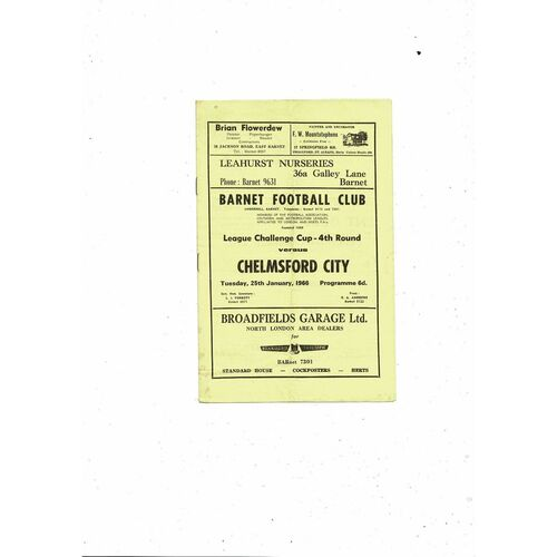 1965/66 Barnet v Chelmsford City Southern League Cup Football Programme