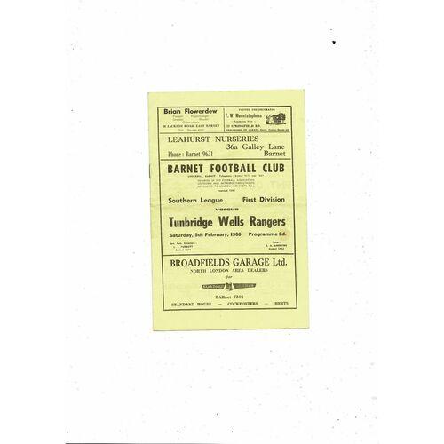 1965/66 Barnet v Tunbridge Well Rangers Football Programme