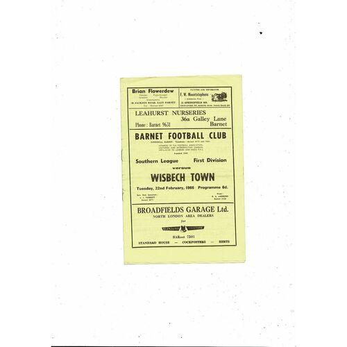 1965/66 Barnet v Wisbech Town Football Programme