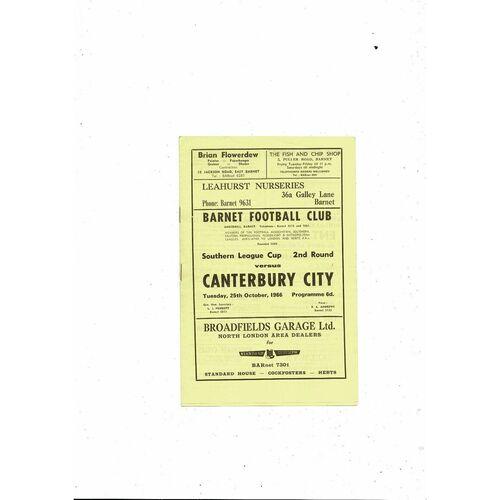 1966/67 Barnet v Canterbury City Southern League Cup Football Programme