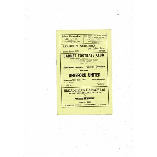 1966/67 Barnet v Hereford United Football Programme