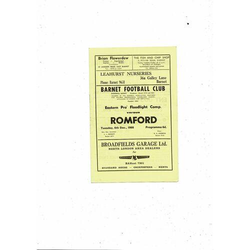 1966/67 Barnet v Romford Eastern Floodlight Cup Football Programme