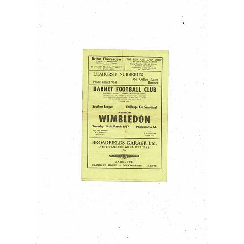 1966/67 Barnet v Wimbledon Southern League Cup Semi Final Football Programme