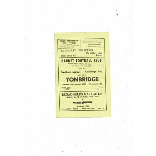1966/67 Barnet v Tonbridge Southern League Cup Football Programme