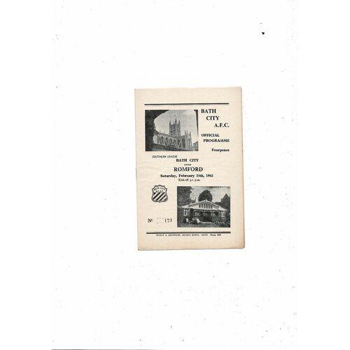 1961/62 Bath City v Romford Football Programme