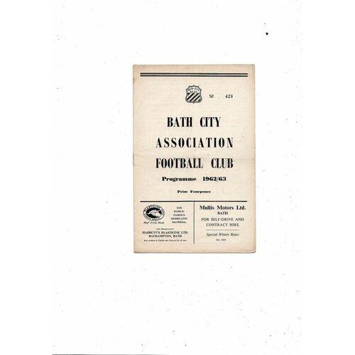 1962/63 Bath City v Chelmsford City Football Programme