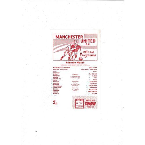 1972/73 Manchester United v Hull City Friendly Football Programme