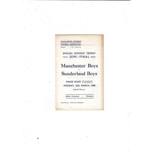 1967/68 Manchester v Sunderland Schools Trophy Semi Final Football Programme