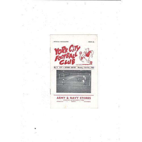 1964/65 York City v Oxford United Football Programme