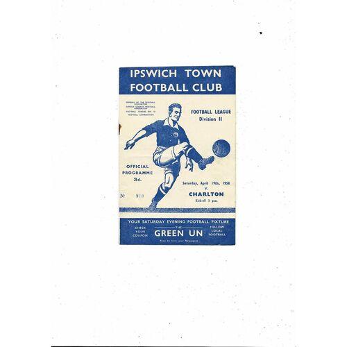 1957/58 Ipswich Town v Charlton Athletic Football Programme