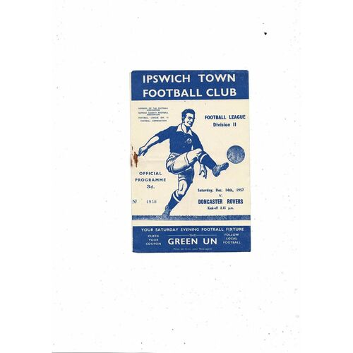 1957/58 Ipswich Town v Doncaster Rovers Football Programme