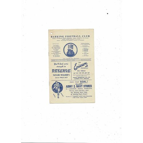 1957/58 Barking v Kingstonian Football Programme